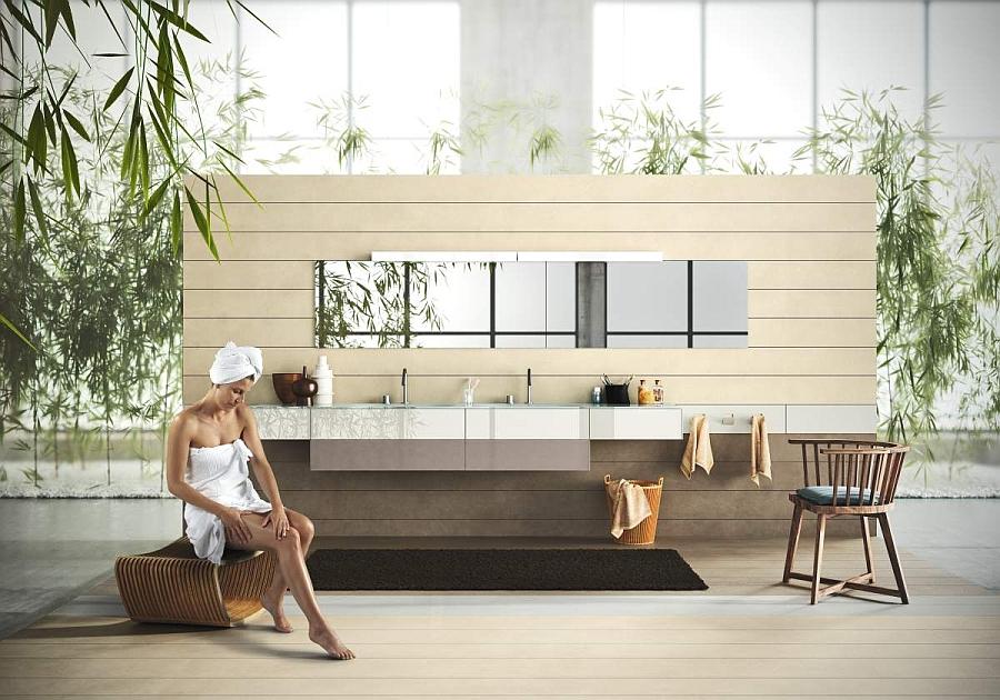 Sleek modular units help shape floating bathroom vanity