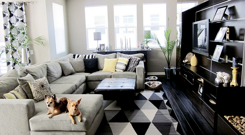 Small black and white living room with a plush couch at its heart