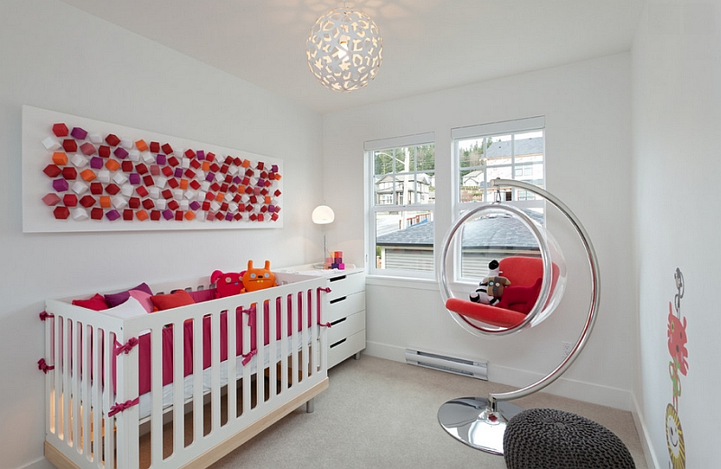Small coral pendant in white makes its way into the modern nursery!