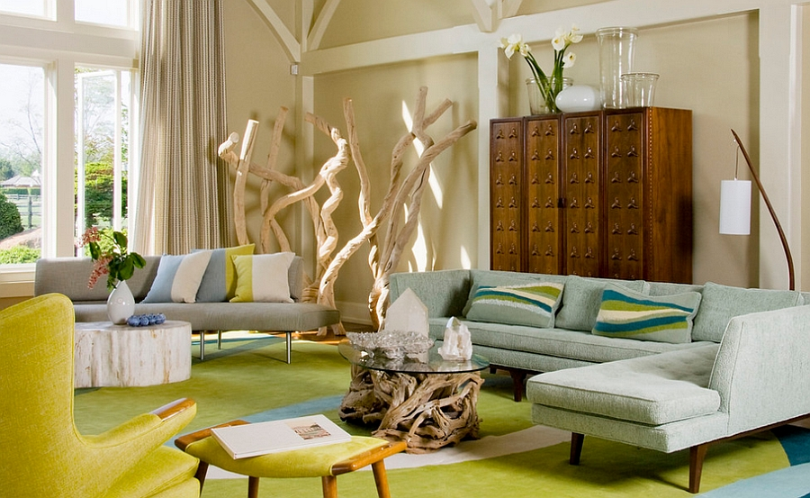 Smart Midcentury modern living room with bright pops of yellow