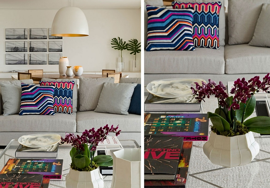 Smart accent additions add color and pattern to the trendy modern home