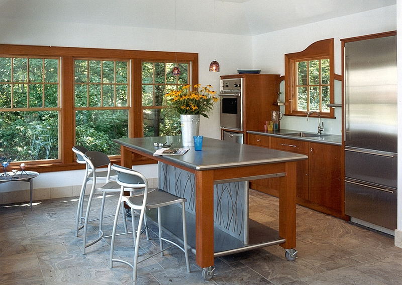 view in gallery smart kitchen island on wheels turns the kitchen into a cozy family hub - Kitchen Island On Wheels