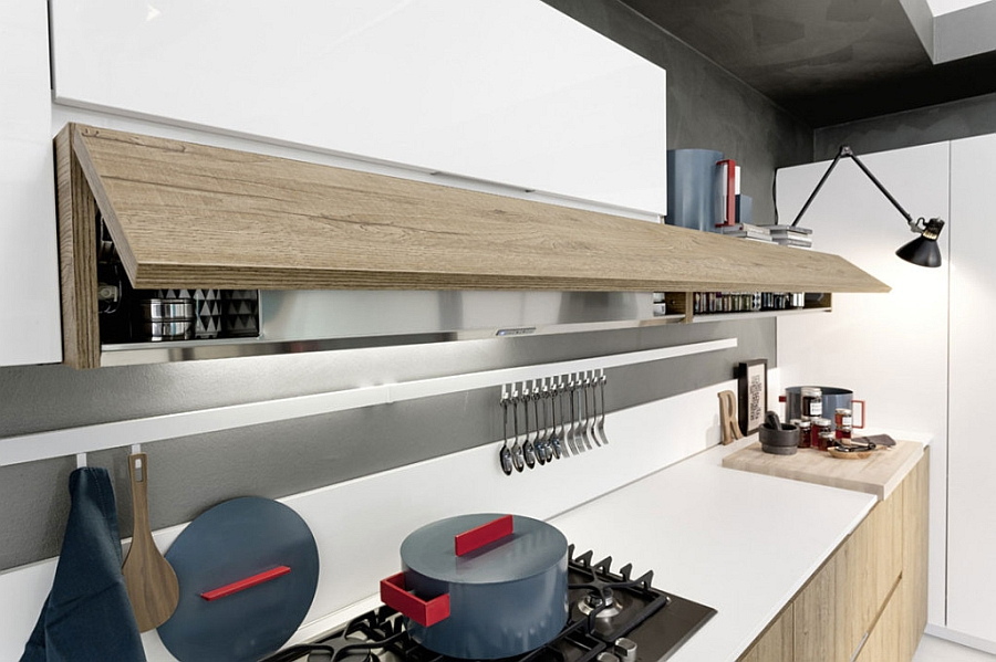 Smart kitchen shelf that hides away the cutlery
