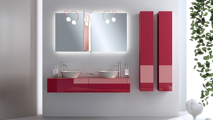 Smart red accents for the modern bathroom in neutral hues