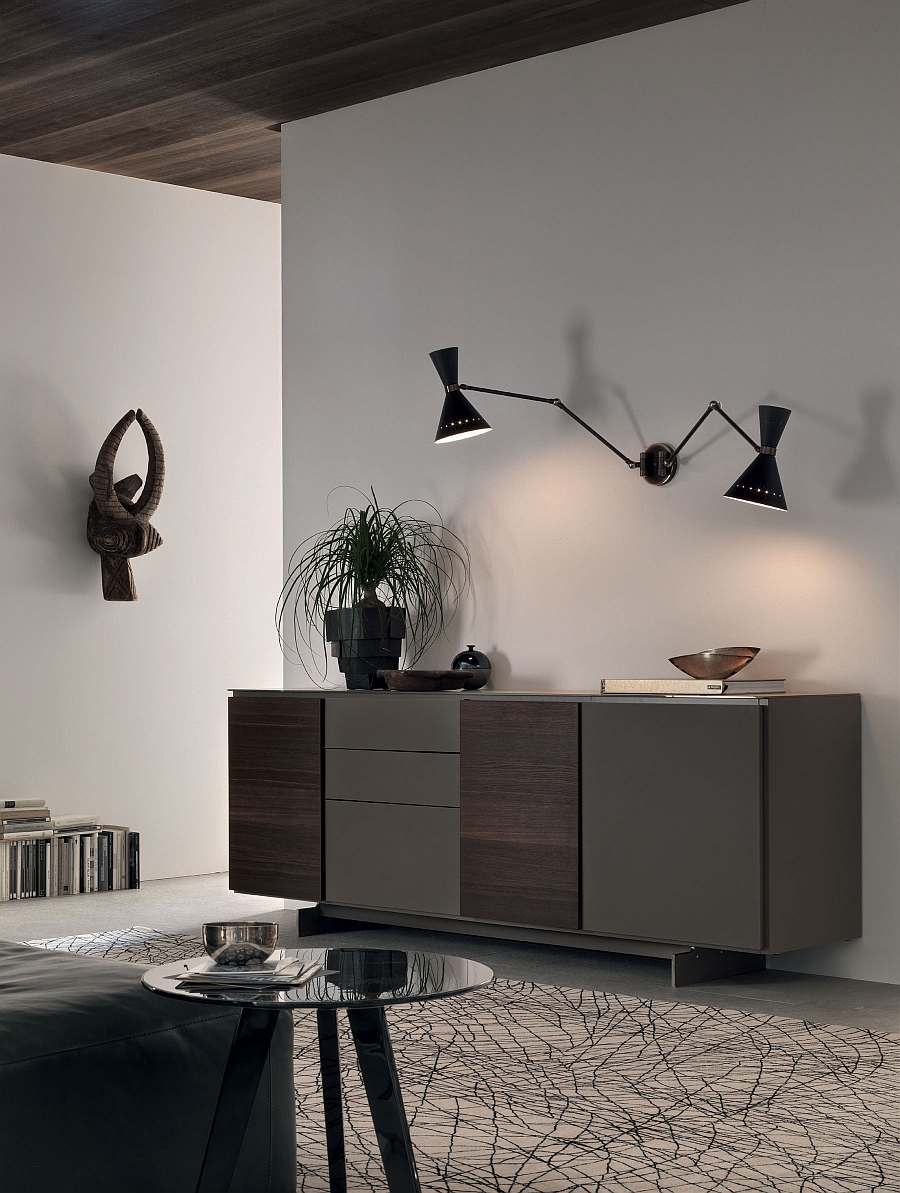 Smart wall sconces provide accent lighting for the sleek wall unit