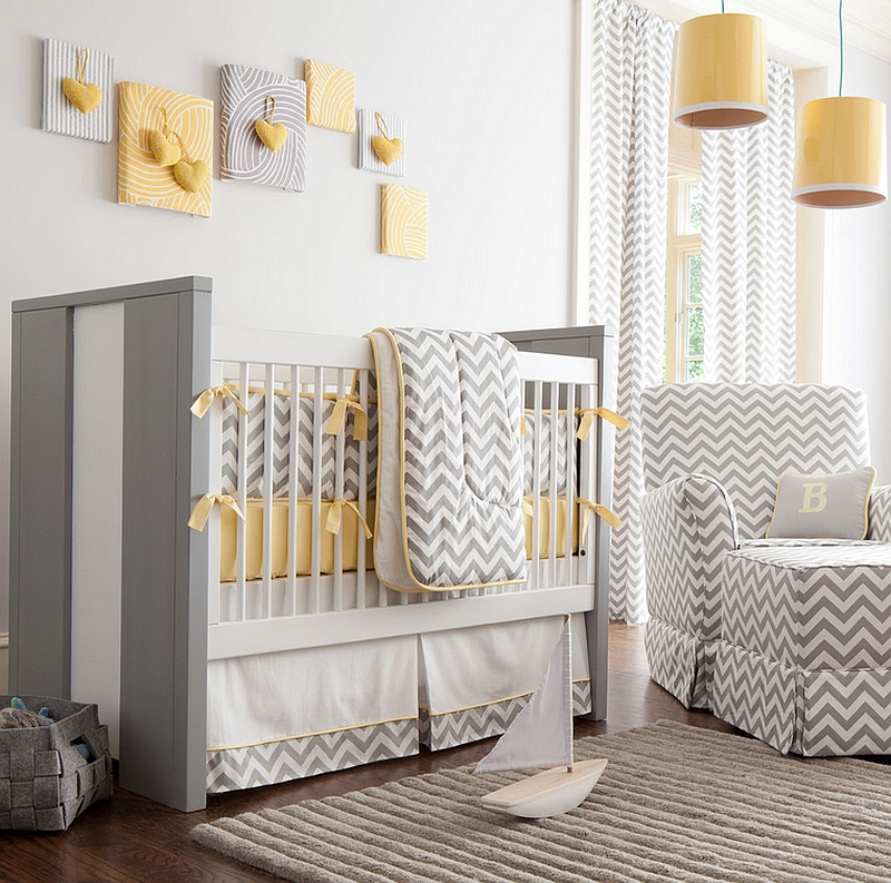 Soothing and stylish blend of yellow and gray in the bedroom along with Chevrom crib bedding