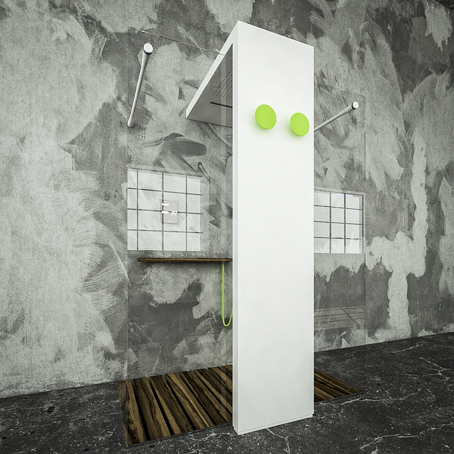 Space conscious design of the shower with integrated heating feature