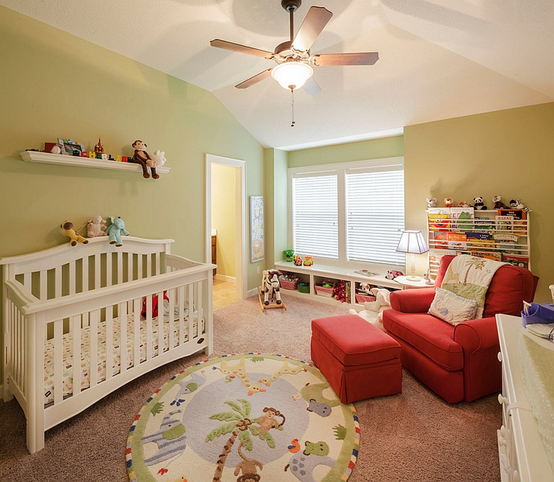 Sparing use of energetic red in the nursery in the form of accent seating