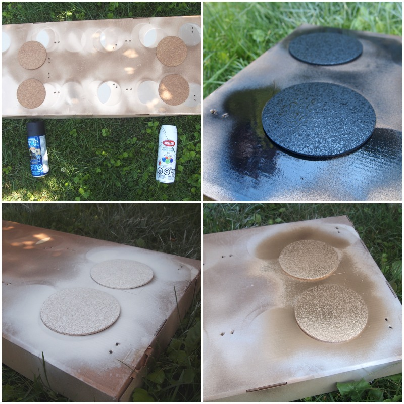 Spray painting cork coasters