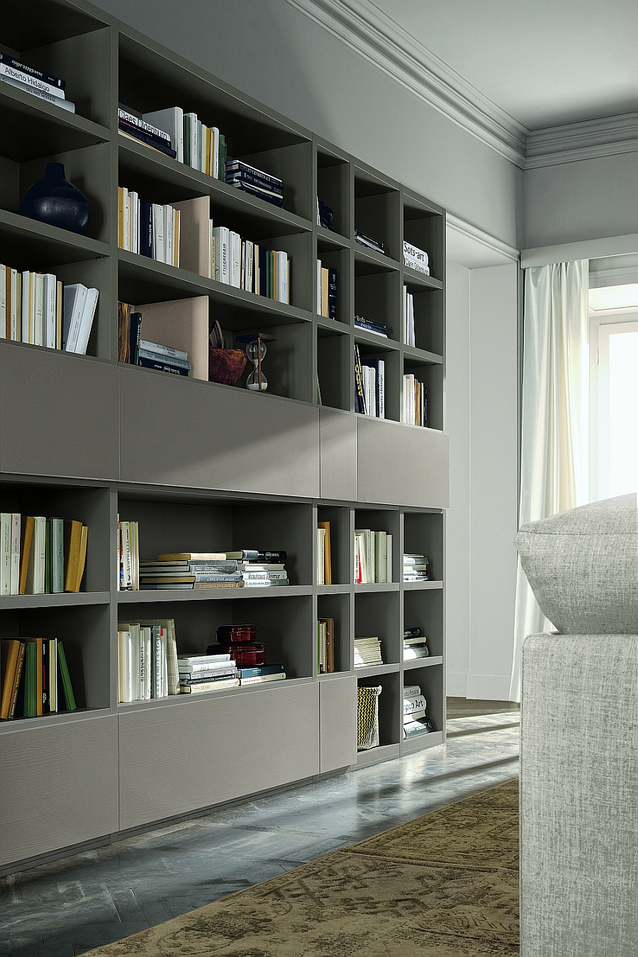 Striking modular living room unit with ample storage space for books