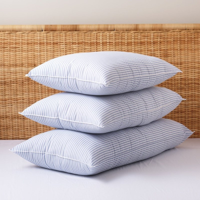 Striped bed pillows