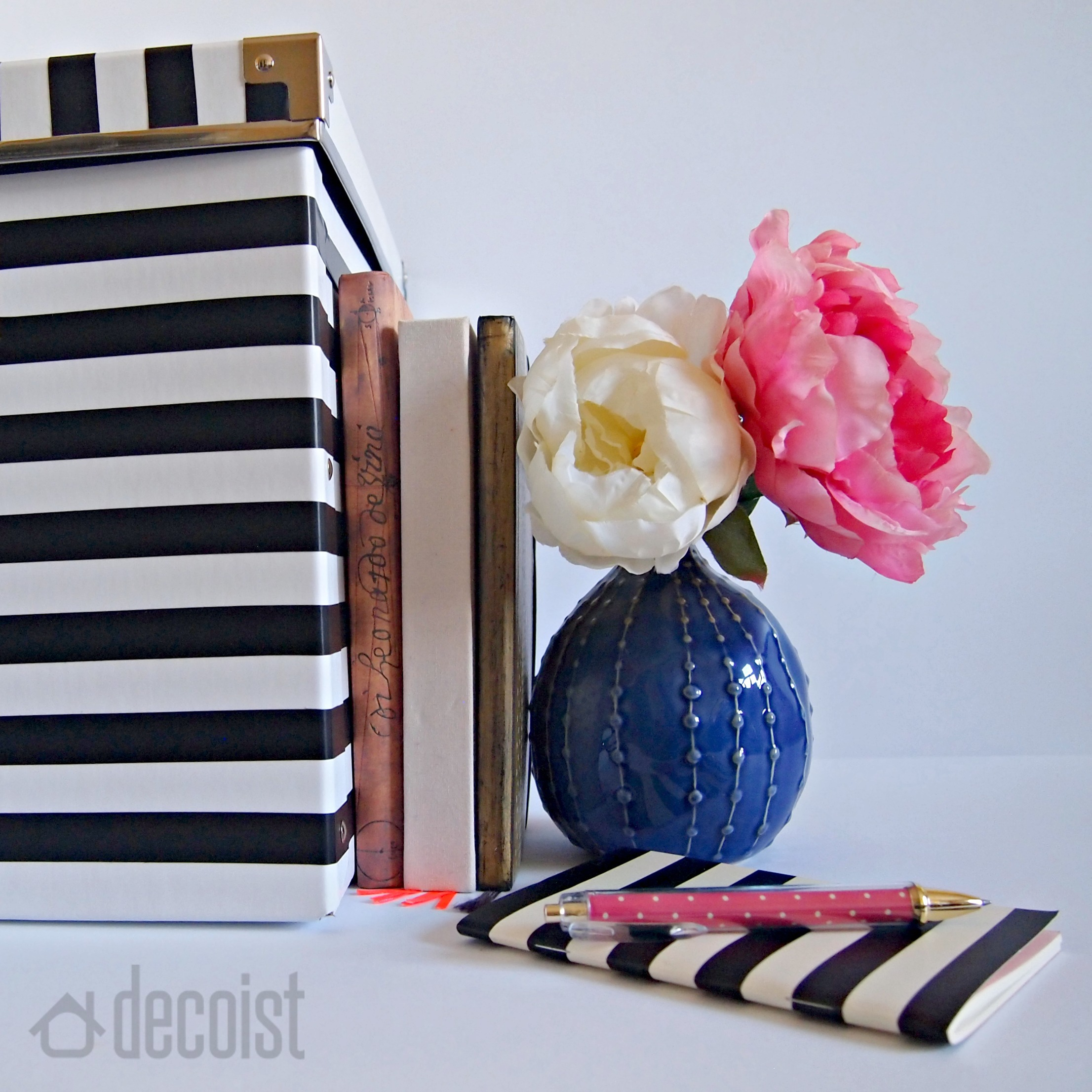 Striped black and white box DIY from Decoist