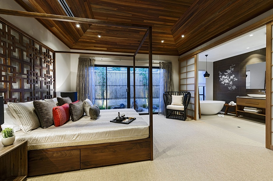 Stunning Japanese-inspired master suite with four-poster bed and a bath