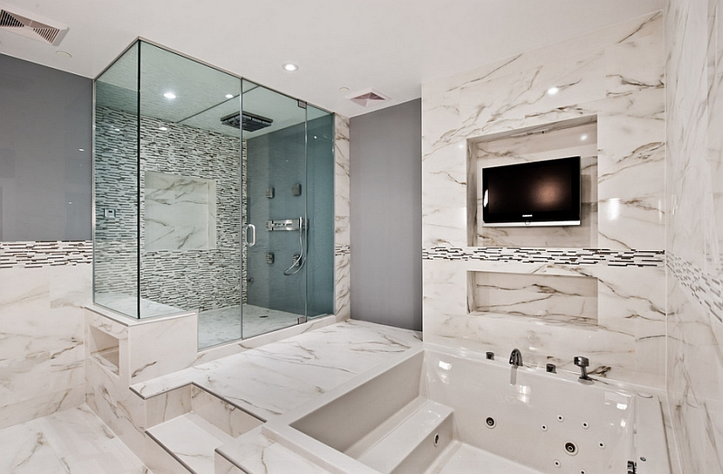 Stunning bathroom in marble exudes opulence