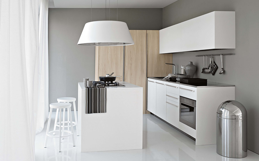 Stunning kitchen in white with a trendy square kitchen island