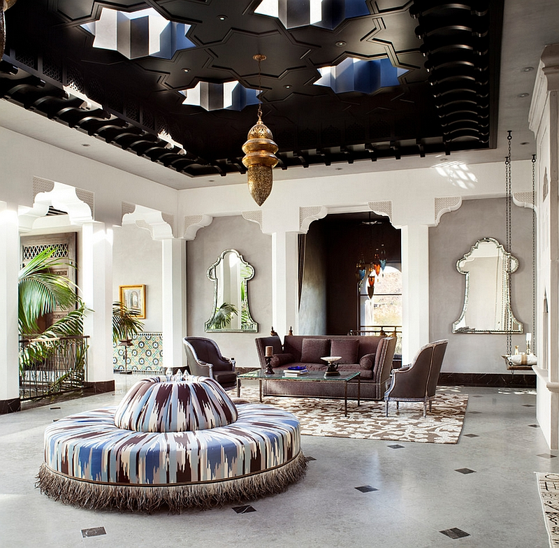 Stunning living room combines Hollywood glamour with amazing Moroccan design
