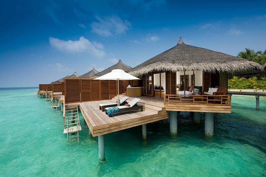 Stunning villas atop the ocean with a view of the majestic turquoise waters