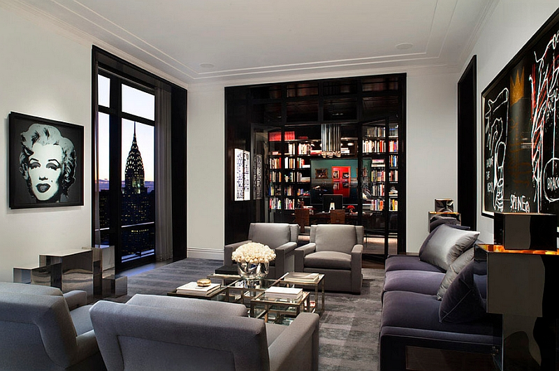 Stylish Manhattan living room with smart use of black trims Dark Arts: How To Use Black With Style And Sophistication