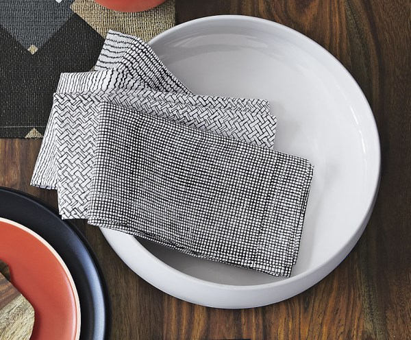 Stylish black and white napkins