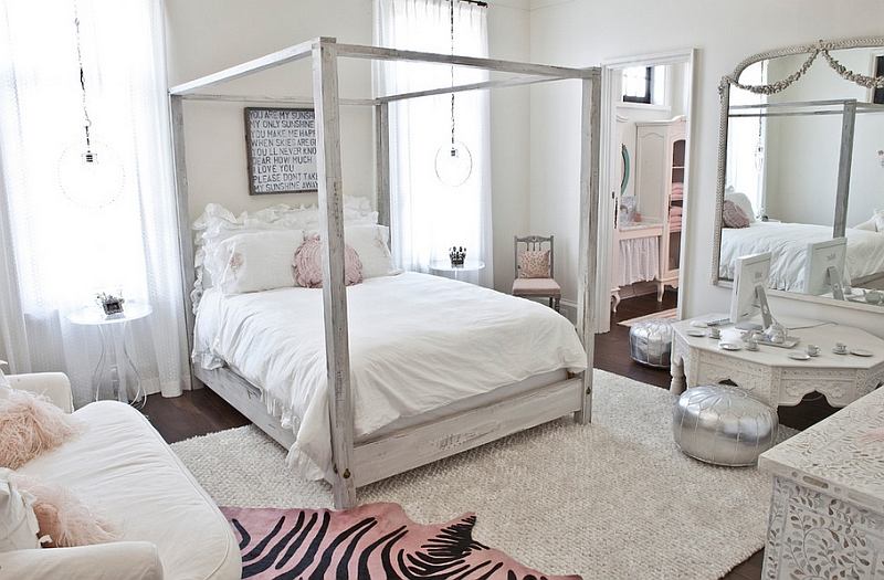 Stylish girls' bedroom in white with a chic Moroccan theme