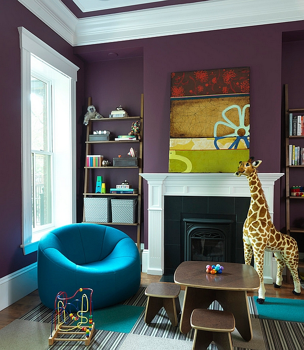 Stylish kids' room with walls in eggplant