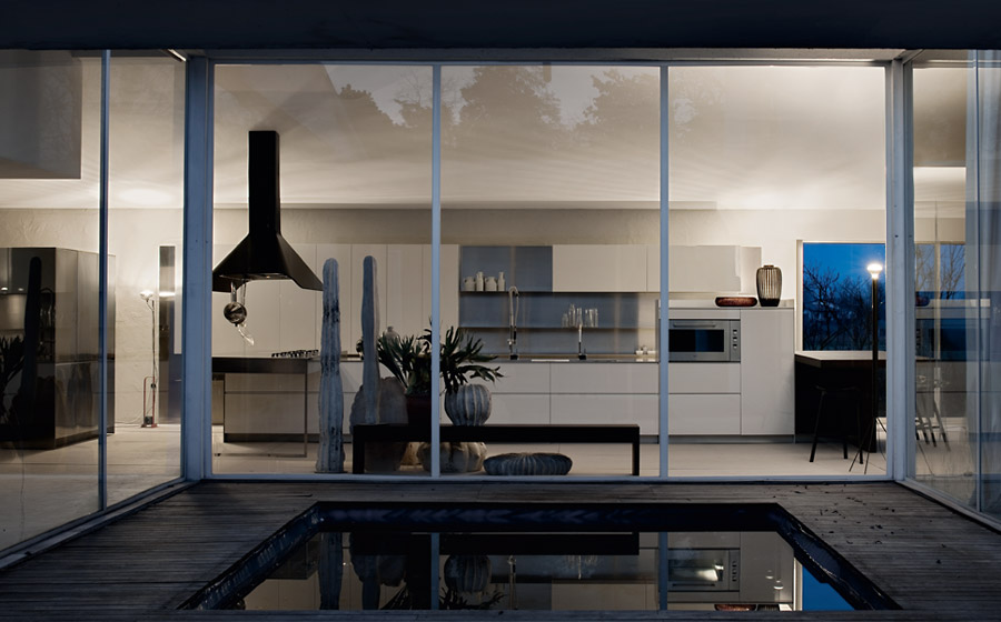 Stylish kitchen becomes a natural extension of the contemporary living area