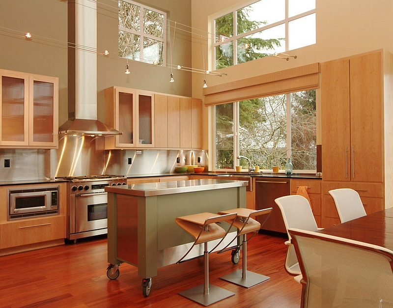 Stylish kitchen island on wheels adds to the chic elegance of this Seattle kitchen