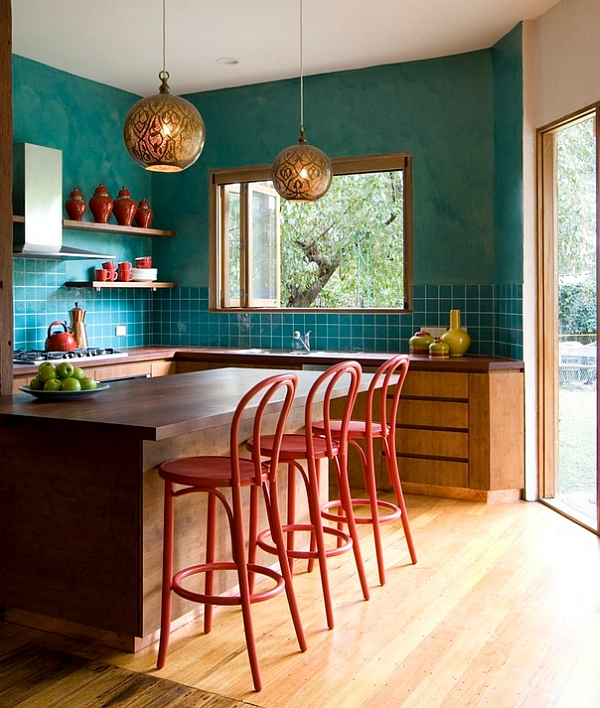 View In Gallery Teal Used Along With Red And Gold In The Eclectic Kitchen