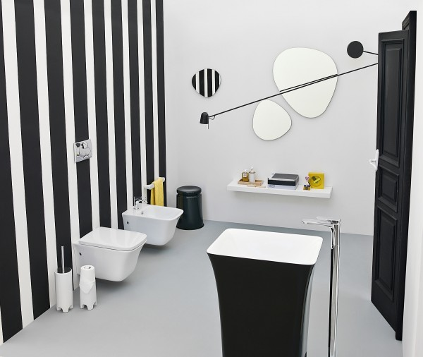 The Artceram Cow collection adds black magic to your art deco bathroom 600x506 15 Black And White Bathroom Inspirations With A Touch Of Retro Charm