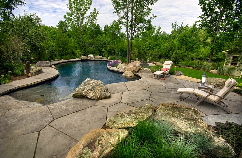 The beach entrance and the landscape around the pool make for Garden designs around pools