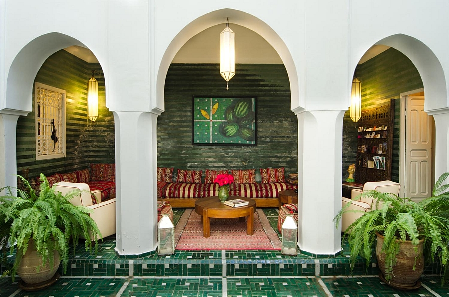 Tiles, bold patterns and bright colors are an integral part of the Moroccan style