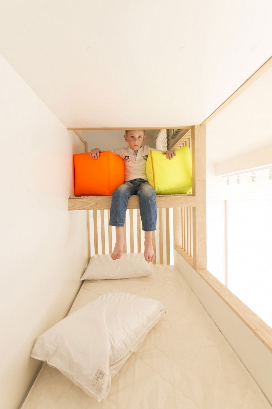 Top bunk of the elegant kids' bunk beds with ample room
