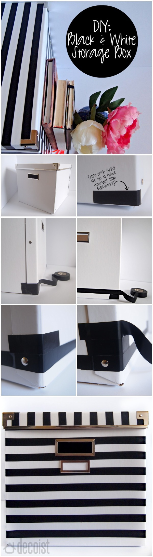 Transforming an ordinary box into a black and white storage unit using tape