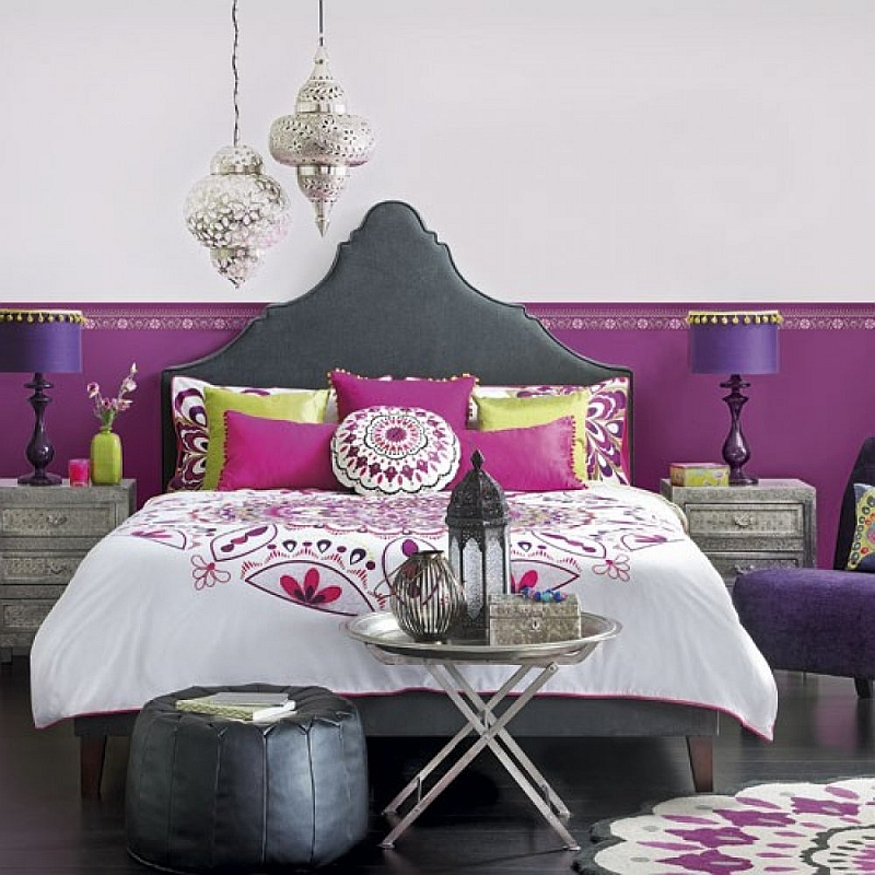 Trendy Moroccan bedroom with rich purple hue