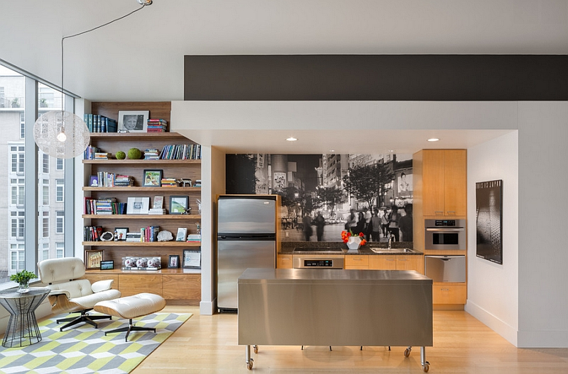 Trendy kitchen with a rolling island that serves beyond the obvious