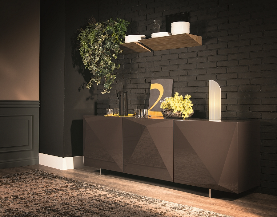 Trendy sideboard in sideboard in polished lacquered glossy Moca