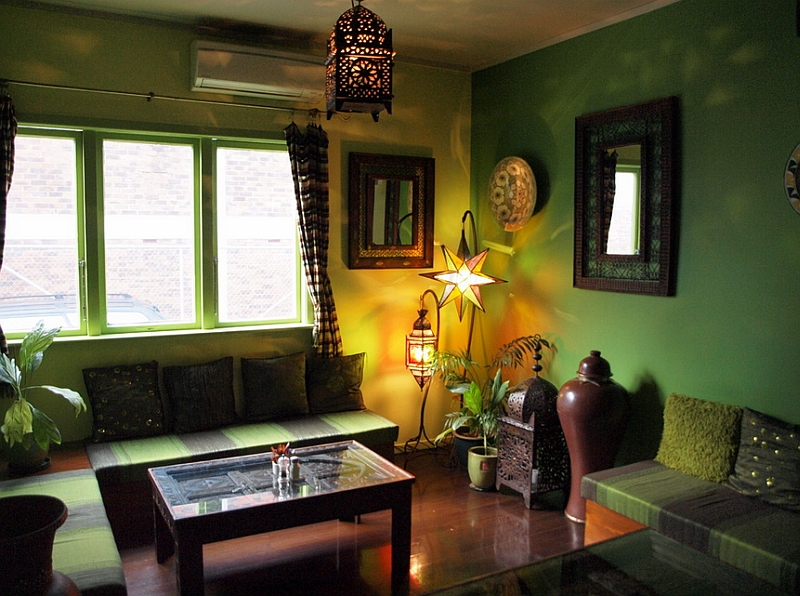 View In Gallery Tropical Colors Coupled With Moroccan Lantern And Fabric The Cool Living Room