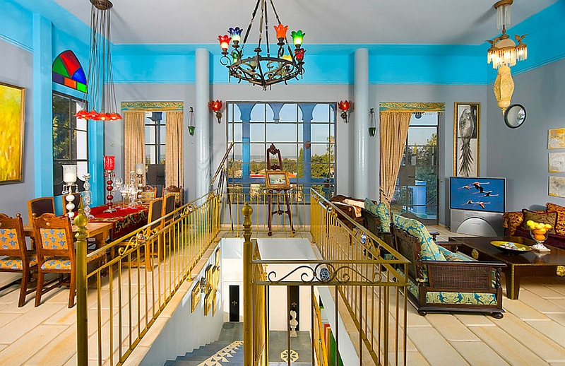 Turn your living into an exotic Moroccan getaway with bold colors and a cool aqua backdrop