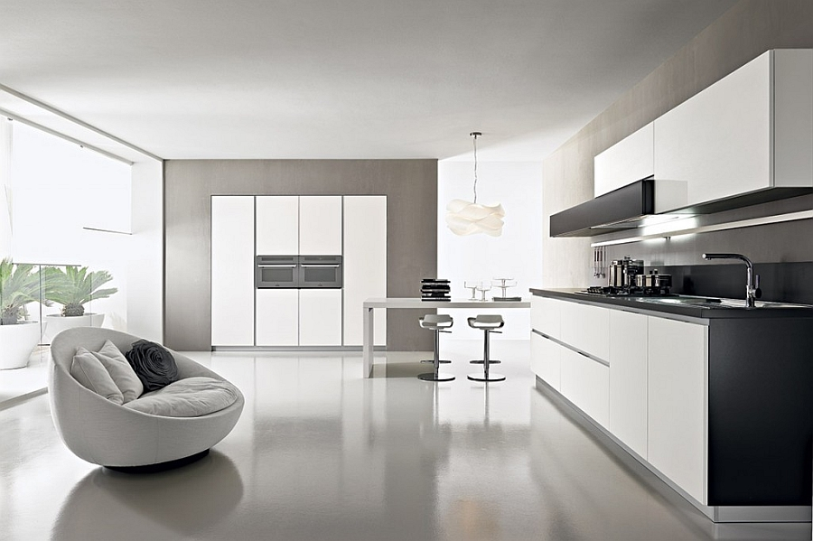 Innovative contemporary kitchen with efficinet storage for Trendy kitchen designs