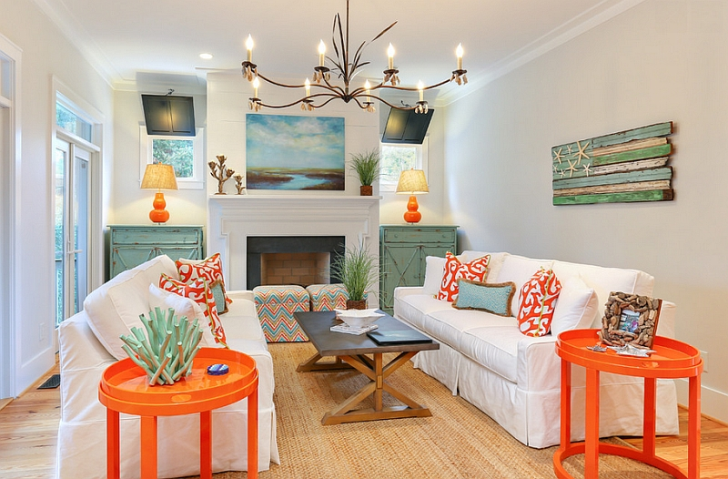 Two trendy colors - Bright coral and light teal in the living room