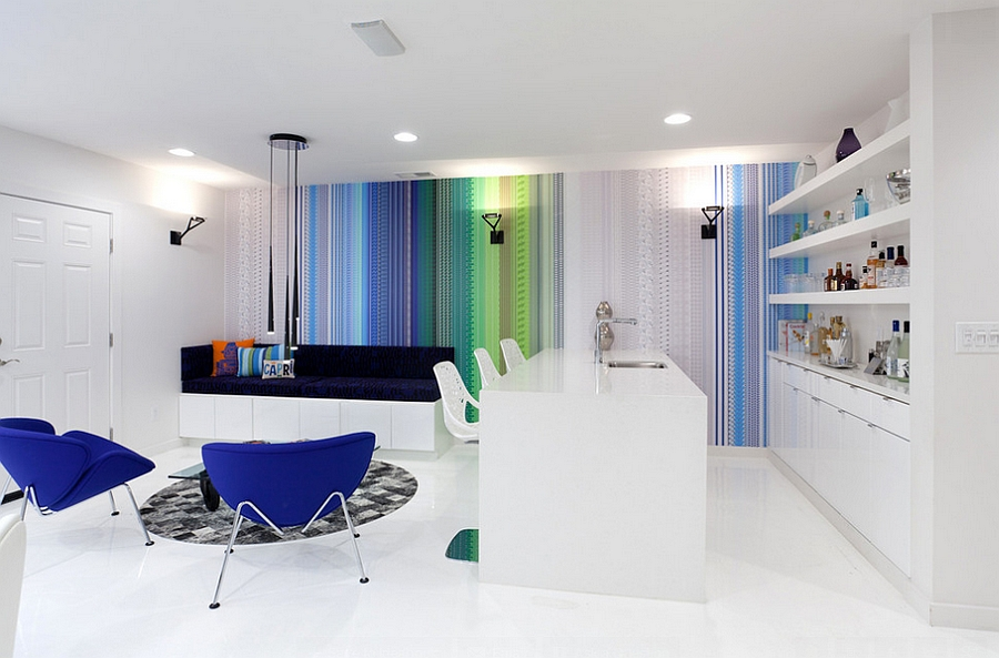 Uber-cool contemporary family room with captivating use of bold colors