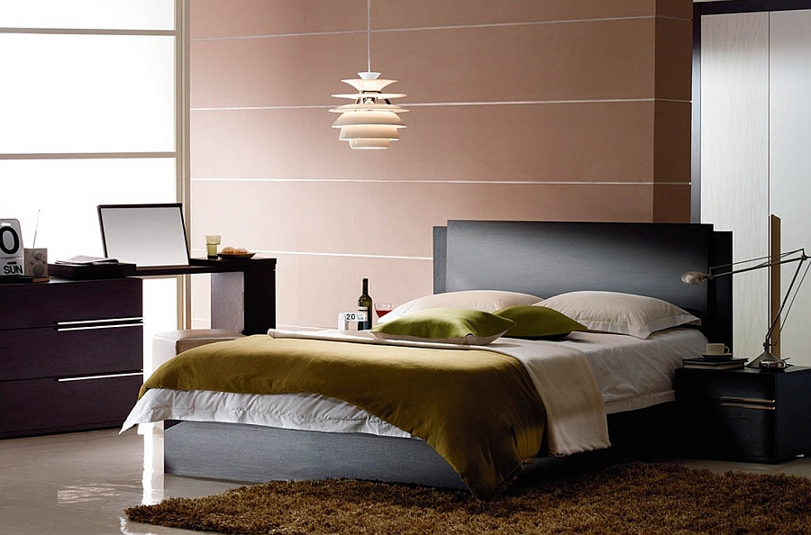 Use iconic lighting to add sculptural value to the bachelor bedroom