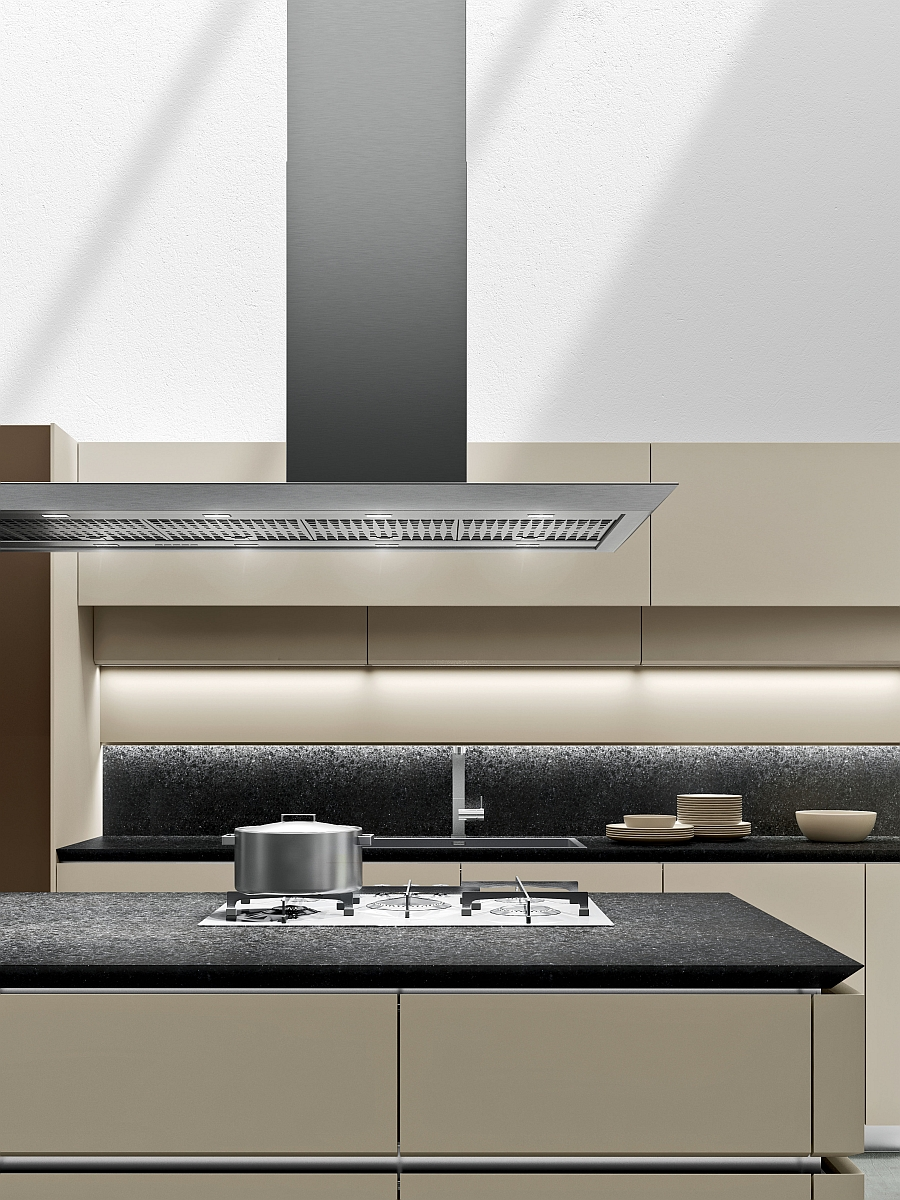 Use of minimal number of shades and colors gives the kitchen a more coherent look