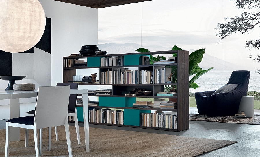 Using the Open Unit system with books to demarcate space in an open floor plan