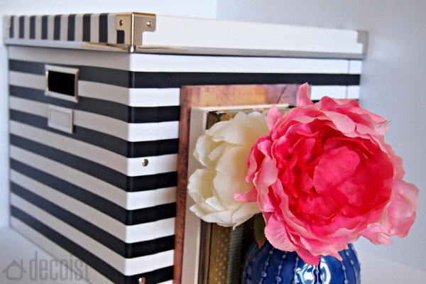 Using the black and white striped box to add sophistication to your home