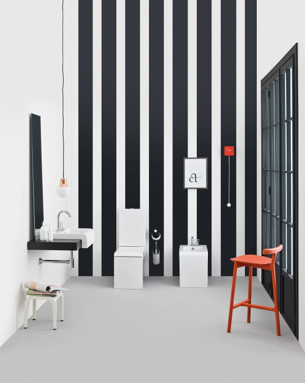 Vertical stripes, sleek sanitaries and pops of red in the blacka dn white bath inspiration