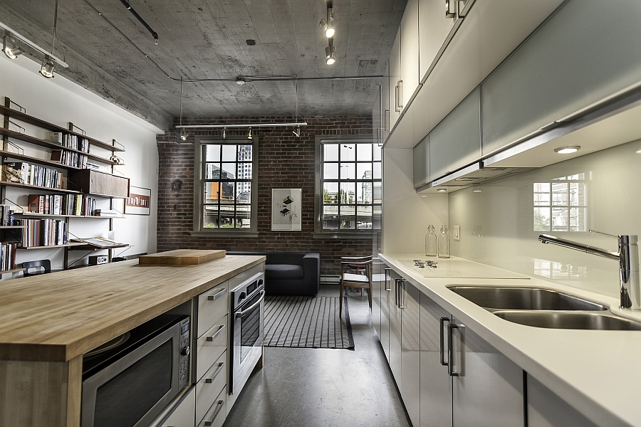 View of the open floor plan from the kitchen of the trendy Vancouver Loft