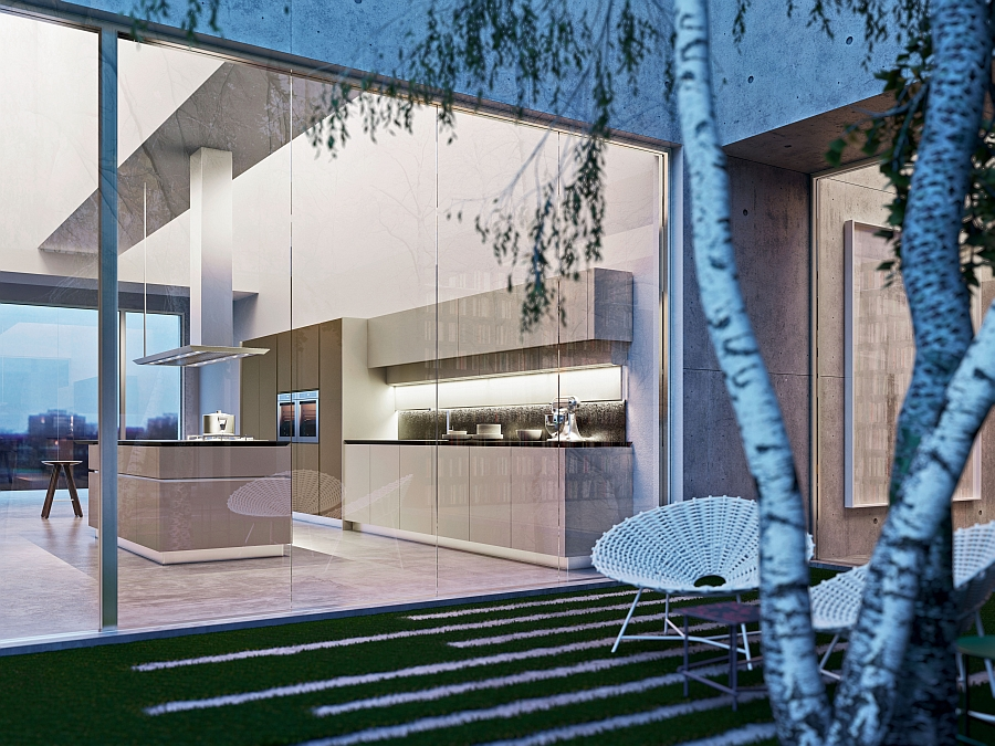 View of the trendy modern kitchen from the indoor courtyard