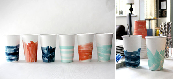 Watercolor party cups Easy Last Minute 4th Of July Party Ideas
