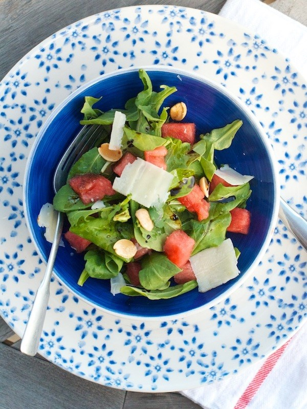 Watermelon and arugula recipe from Camille Styles
